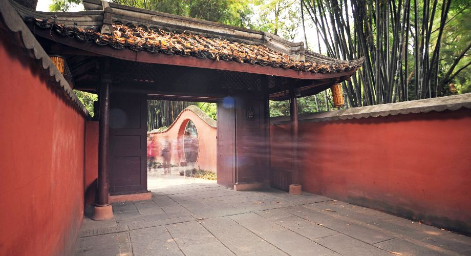 The exterior of the Du Fu Thatched Cottage in Chengdu